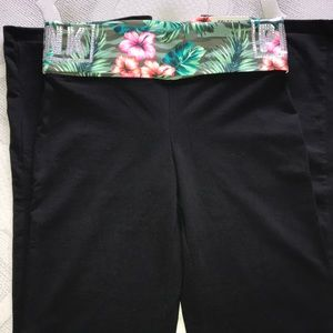 PINK VS Floral Fold Over Boot Yoga Pants